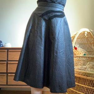 Vintage High Waisted Black Leather Midi Skirt SM